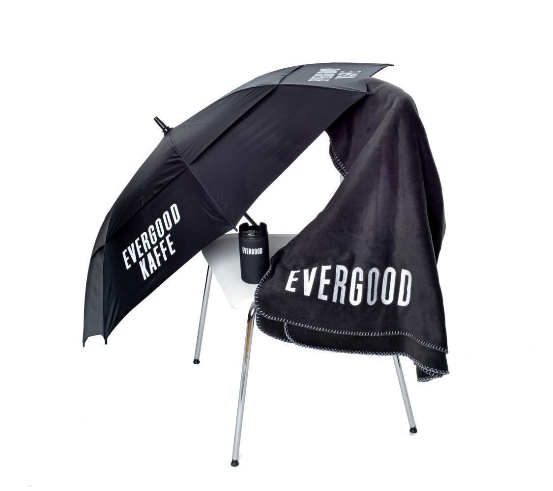 Evergood pledd og paraply